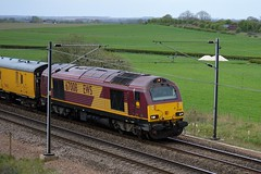 A friendly wave from the driver as 67008 heads north past Colton Junction with the 1Q34 Derby RTC to Heaton, 19th April 2014. (Dave Wragg) Tags: railway loco locomotive skip networkrail class67 coltonjunction 67008 1q34