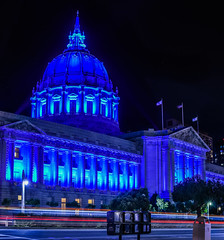 city hall is about to kill van ness (pbo31) Tags: sanfrancisco california city blue urban panorama black color night dark newspaper spring nikon traffic cityhall may large panoramic illuminated bayarea stitched civiccenter roadway 2016 paperstand lightstream vannessavenue autismawareness boury pbo31 d810