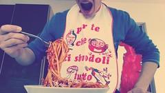 Bordolone (France reOnAir) Tags: boy italy food bacon model eating pasta eat gag studioshot hungry bucatini oneman amatriciana matriciana italianculture traditionaldish pornofood