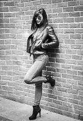 Lady's portrait : Black and white : Leica Nocticron F1.2 DG : Olympus OMD EM1 : Leather Jacket (Benjamin Ballande) Tags: leica portrait white black leather olympus jacket ladys dg omd f12 em1 nocticron