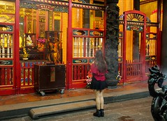 Pray (BoN.cz) Tags: temple buddhist prayer pray lungshan taipei taiwan girl woman praying buddhistic buddhisttemple night dark evening lights
