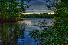 Morning-At-Winchester-5-16 (desouto) Tags: sky snow nature water clouds stream stones lakes ponds hdr