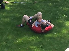 "Daddy and Paul Playing in the Yard • <a style=""font-size:0.8em;"" href=""http://www.flickr.com/photos/109120354@N07/27157635591/"" target=""_blank"">View on Flickr</a>"