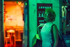 Tokyo Alleyway (Jon Siegel) Tags: woman girl beautiful sunglasses fashion japan night tokyo model nikon shinjuku modeling exploring 14 85mm alleyway mysterious nikkor cinematography cinematic wandering futuristic stylish wongkarwai nikon85mmf14 d810