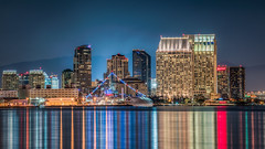 Calm San Diego Bay (Justin in SD) Tags: ocean california blue reflection building water skyline architecture night buildings manchester hotel bay cityscape pacific sandiego dusk sony structure sd reflect socal highrise hyatt grandhyatt hdr sandiegobay hyattregency manchestergrandhyatt sonyalpha 32bithdr sonya7rii a7rii a7r2