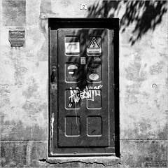 High voltage (John Riper) Tags: street door bw white black netherlands monochrome canon john square photography mono high zwartwit candid l hoge voltage gouda 6d 24105 hoogspanning spanning straatfotografie levensgevaarlijk riper johnriper