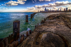 Fullerton Clouds (rseidel3) Tags: city sky lake chicago beach water skyline clouds photoshop buildings high nikon rocks dynamic adobe range fullerton hdr lightroom photomatix d7000