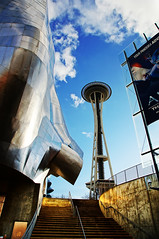 Seattle Space Needle + Experience Music Project (TOTORORO.RORO) Tags: seattle usa color reflection art lens mirror washington view unitedstates steel sony wa translucent spaceneedle experiencemusicproject alpha emp f28 hdr slt ssm seattlecenter a55 1650mm sal1650