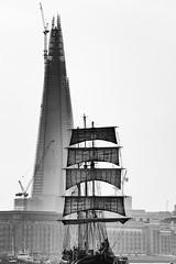 Thalassa tall ship in front of The London Shard (VickieFlores) Tags: people london monochrome ship crane traditional sails tallship shard riverthames thalassa 2012 sailroyalgreenwich