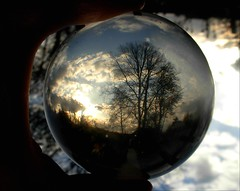 evening light in the ball (april-mo) Tags: sunset ball crystal refraction crystalball nonopticalglass