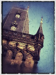 Prague Tower #2 (CJPolitzki) Tags: vintage flickr prague grunge iphone ipodtouch snapseed