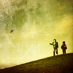 boys (Janine Graf) Tags: cameraphone park kite boys childhood youth play hill cookiemonster piratekite hipstamatic janine1968 iphone4s scratchcam janinegraf squaready tejaslensfloatflim