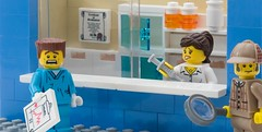 Drug Shortage (ted @ndes) Tags: lego scene pharmacy doctor drug sherlockholmes vignette pharmacist shortage