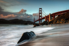 Marshall Beach - Golden Gate Bridge (tobyharriman) Tags: ocean sf sanfrancisco ca travel sunset sea toby seascape beach northerncalifornia canon flow long exposure scenic bridges goldengatebridge lee bayarea harriman filters hdr blend parkpic marshallbeach