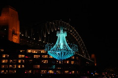 blue chandelier (gemini*jen) Tags: city bridge blue windows winter art june night canon dark gold lights hotel evening harbour sydney australia celebration festivaloflight coastal chandelier parkhyatt colourful harbourbridge 2012 campbellscove parkhyattsydney vividsydney ringexcellence canoneos600d