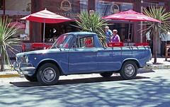 Fiat 1500 Multicarga (Gabo Barreto) Tags: blue summer slr film argentina car buenosaires classiccar shadows fiat pickup parasol 135 sanbernardo selfdeveloped c41 fiat1500 omsystem analoguephotography multicarga tetenalkit