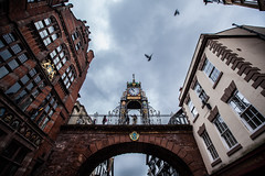 Eastgate Clock (code poet) Tags: greatbritain travel england sky clock birds wall clouds gate cheshire chester 5d citywall eastgateclock 1635mm