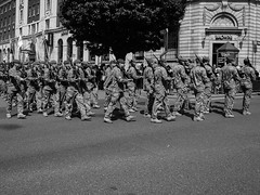 1st Battallion The Yorkshire Regiment. March in Leeds uk. (Lawrence Holmes.) Tags: uk west army lumix 1st yorkshire leeds band police mounted soldiers g2 pancake brass regiment the battalion 14mm 1yorks