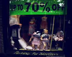 Up to 70% off Creepiness (mheidelberger2000) Tags: nyc newyorkcity urban children store dolls manhattan parking shops uppereastside strollers 70off