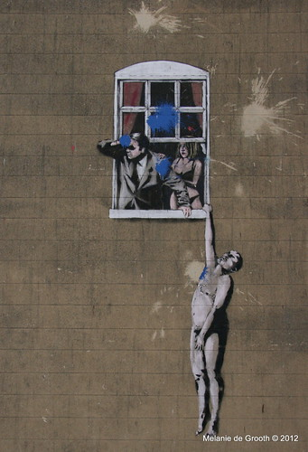 Banksy Stencil - Lover Naked Out of the Window