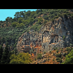 rock-cut  tombs (Spinool) Tags: rock turkey cut trkiye tomb hilton shift ave tilt turkije dalyan 2012 lycia osmaniye dalaman rockcut lycian mugla sarigerme asiaminor caunus 400bc