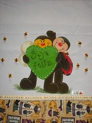 Pano de prato Joaninha e Abelhinha (Pintura em tecido. Panos de prato.) Tags: joaninha panodeprato