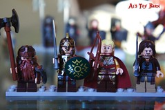 Lego Gimli, King Thoden, Haldir (that look like legolas) and Aragorn. (Al's Toy Barn) Tags: sam lego gandalf aragorn merry frodo legolas orcs golum peppin