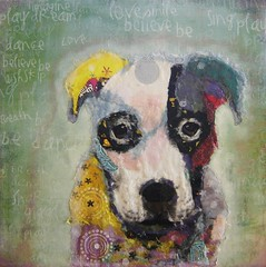 Chigirie Torn Paper Pop Art Custom Pet Portrait Caleb (Robin Panzer Art Studio 33) Tags: portrait pet art robin collage paper studio 33 painted pit bull pop torn custom panzer chigirie