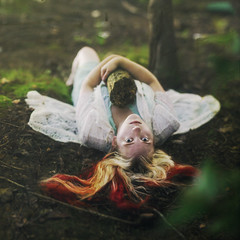 guardian of the wood. (Casey David) Tags: wood trees red woman green nature girl yellow forest moss log woods lace mother 50mm14 redhead growth blonde cuddle dogwood redhair mossy mothernature hold seedling guardian cradle caseydavid caseydavidphotography