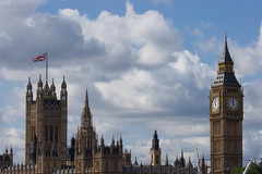 Houses of Parliament ('Ollie') Tags: sleeping bench man doze dozing home less homeless seat lying london central sony a500 embankment thames big ben sky cloud eleven time blue clouds house houses parliament over cast overcast