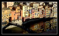 Girona (Robert-Jan van Lotringen) Tags: city bridge houses color reflection water architecture river spain cityscape catalonia girona espana catalunya gerona spanje onyar