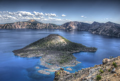Wizard Island (WorldofArun) Tags: park panorama mountain lake snow water oregon landscape island volcano lava nikon cone shoreline rocky august explore crater caldera collapse craterlake hdr eruption wizardisland klamath stratovolcano craterlakenationalpark volcaniccrater 2011 18200mm photomatix llaorock witchescauldron rimdrive volcaniceruption mountmazama rimvillage cataclysmic d40x worldofarun klamathtribe arunyenumula volcaniccindercone deepestlakeinunitedstates klamathnativeindians