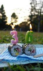 happy 36th to me! ^-^ (megipupu) Tags: birthday park travel japan sushi tokyo candle yoyogi megipupu