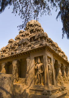 The Rock Cut Dharmaraja Ratha Temple, Mahabalipuram, India