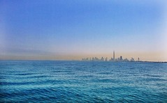 Dubai Skyline from the boat. (KarenB Lim) Tags: sea water skyline boat dubai iphone burjkhalifa