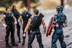 The Shield and the Avengers [explore 04-14-14] (misterperturbed) Tags: shield hawkeye marvel wrestlers captainamerica mattel wwe avengers theshield marvelselect diamondselect sethrollins deanambrose romanreigns