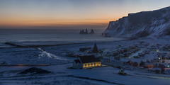 Danger Zone (Tmuussoni) Tags: winter sunset panorama mountain church outdoors town frozen iceland village vik bluehour leefilters leica90mmf2aposummicronmasph ilobsterit ilobesterit