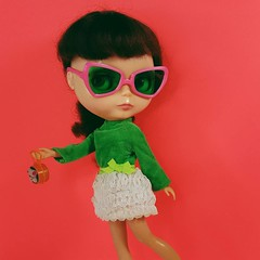 Anouk walks purse first in her vintage Skipper dress and cool new sunglasses found at Nelly Art Design on Etsy ☺