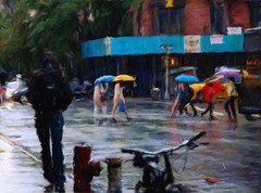 Hard Rain in the City (Professor Bop) Tags: professorbop drjazz rain newyorkcity nyc impressionism outdoor street people umbrellas olympuse510 mosca