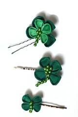 Lucky Clovers in Kimono silk. (Bright Wish Kanzashi) Tags: original irish handmade oneofakind clover shamrock clovers kanzashi luckysymbol tsumamizaiku