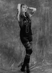 Hands up! (swordscookie) Tags: ireland blackandwhite dublin mono models longhair makeup tattoos iso stephanie backgrounds swords studiolighting handsonhead setups fingal nikond700 swordsphotographicgroup rolestown kettleshotel