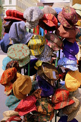 Hats! (Crisp-13) Tags: color colour hat hungary market budapest hats stall multi