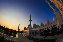 Sheikh Zaid Masque- Abu Dhabi (truenykr) Tags: travel blue sunset sky orange canon uae fisheye abu dhabi masque traveler canonlover canon5dmarkiii