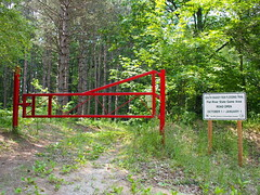 Trail Entrance (BunnyHugger) Tags: flooding letterboxing greenville belding snakeyrun flatriverstategamearea