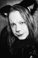 BnW_Kitty (Shiny Pet) Tags: facepainting longhair locked cuffs spandex lycra catsuit catears catplay petplay catmakeup