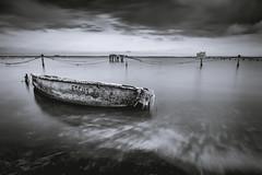 ESCUT... (modesrodriguez) Tags: longexposure sky seascape texture abandoned blancoynegro beach landscape boat blackwhite barca playa deltebre deltadelebro varada silkeffect