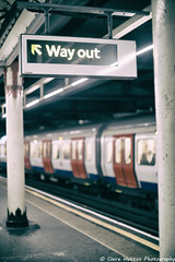(Claire Hutton) Tags: life city uk colour london station sign train underground temple dof bokeh transport tube depthoffield adapter poles analogue manual posts wayout nikkor50mmf14 analogefexpro sonya6000