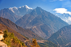 Scenic mountains near Namche Bazaar on the route to Everest base camp, Nepal (CamelKW) Tags: nepal mountains scenic 2016 namchebazaar everestbasecamp everestpanoram