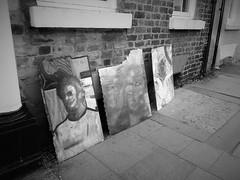 the lost masterpieces (vfrgk) Tags: blackandwhite bw streetart monochrome paintings streetphotography streetscene urbanart urbanfragment