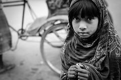 Streets of Dhaka : Street Children (Shutterfreak ☮) Tags: street portrait girl monochrome nikon child homeless poor dhaka peddler bangladesh d5000 nikkor35mmf18g inkiad
